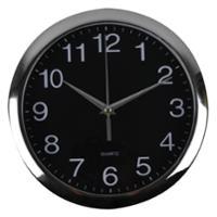 ITALPLAST ROUND WALL CLOCK 30CM BLACK FACE WITH SILVER TRIM - EACH